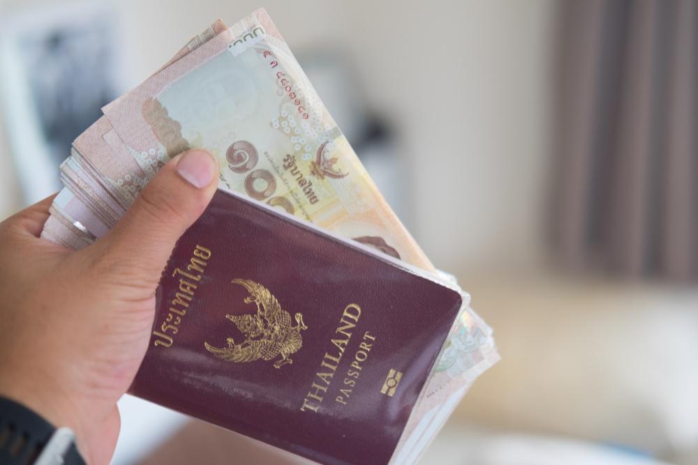 reka trzymajaca paszport wraz z pieniedzmi